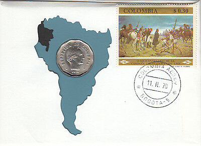 1970 Columbian First Day Issue 99 Company 50 cent coin plus stamp