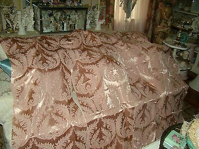 Pr. Stunning Hollywood Regency Antique Pink Acanthus Damask Curtains Drapes #2