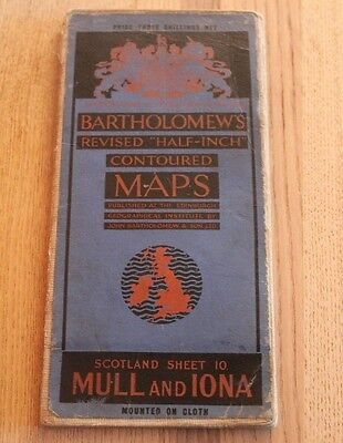 Antique Bartholomew's Half - Inch Map of Mull & Iona - Scotland Sheet 10