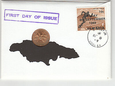 1969 Jamacian First Day Issue 99 Company 1 cent coin plus stamp