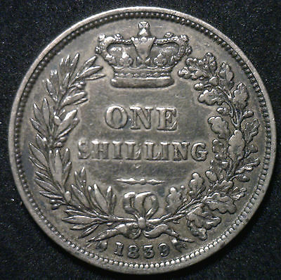 1839 Silver Shilling Great Britain UK Coin VF