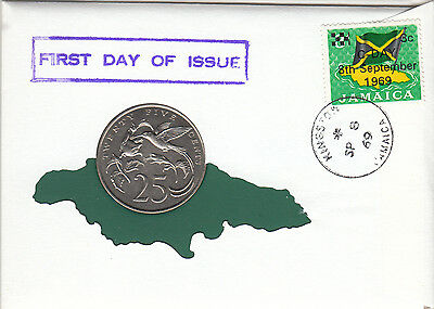 1969 Jamacian First Day Issue 99 Company 25 cent coin plus stamp