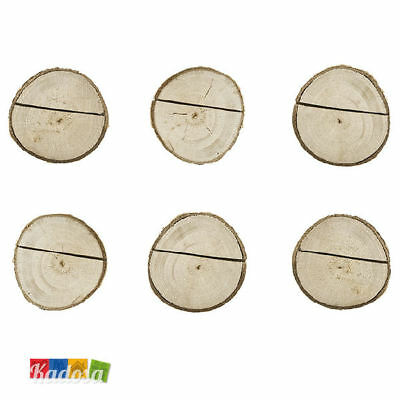 6 pz Segnaposto Tronchetto di LEGNO porta carte Matrimonio Wedding Sposi Country
