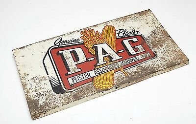 Vintage  Pfister Hybrids PAG Metal Advertising Sign Feed Corn Seed