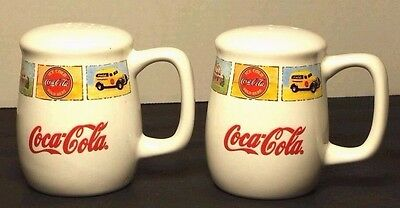 Coca-Cola Range Top Salt and Pepper Shakers Porcelain 3 1/4 Inches Tall