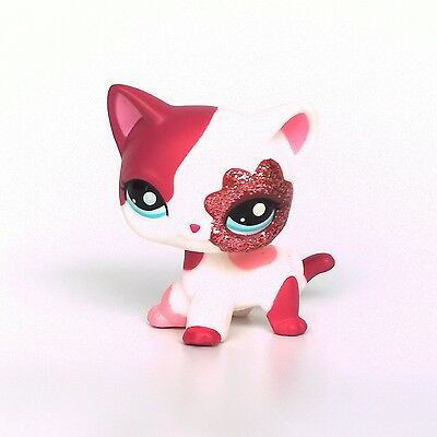 #2291 Littlest Pet Shop pink Sparkle Short Hair cat LPS toys kitty