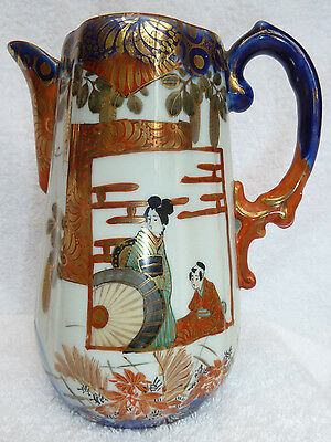 Antique Japanese Kutani Pitcher / Porcelain / Geisha, Bird, Flowers / Excellent
