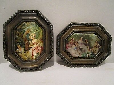 Pair Vintage Metal Frame Silk Victorian  Pictures Italy By Action