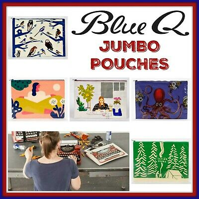 Buy 1 Get 1 50% OFF Blue Q JUMBO Zipper Pouch 95% Recycled FREE SHIPPING
