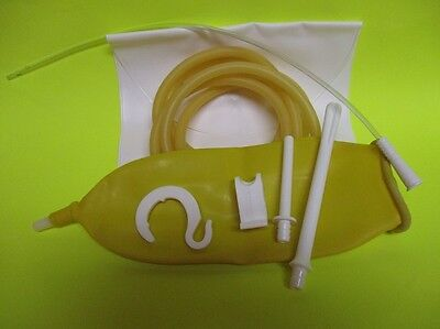 NEW Traveling Fold-up Enema Bag / Douche W/storage pouch / Amber High Deep Enema
