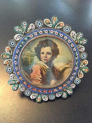 Vintage Italian Micro Mosaic Mini Picture Frame Round With Easel