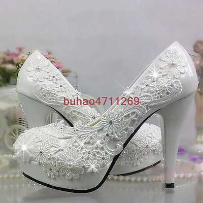 Lace white ivory crystal Wedding shoes Bridal flats low high heel pump size 5/10