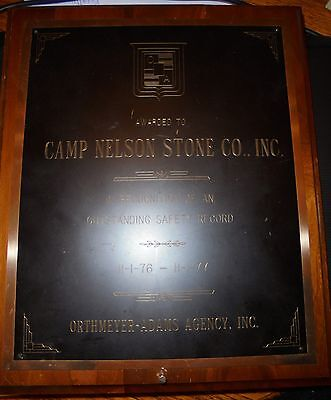 Camp Nelson Stone Company Safety Award plaque 1976-1977