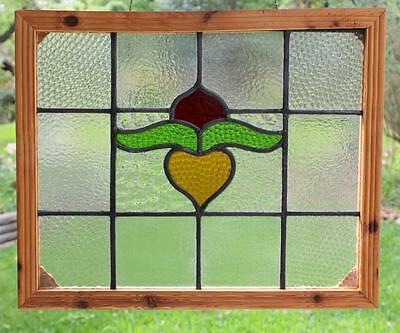 "Vintage OLD ENGLISH Leaded STAINED GLASS  Window Floral Re-Framed 23"" x 19"""