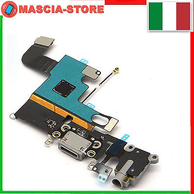 IPHONE 6 Flex flat Dock Connettore Ricarica Cavo Microfono + Jack Audio NERO