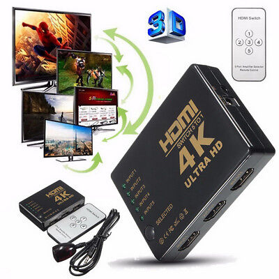 4K 5 Port 3D HDMI Switch Splitter Hub iR remote 1080p for HDTV PS4 XBOX WII