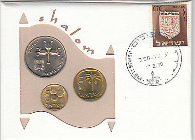 1970 Isreal  First Day Issue 1 lira 10 &5 agorot coins plus stamp