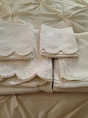 1907 linen metis Sheet Set w Pillowcases embroidered & monogrammed  WOW!