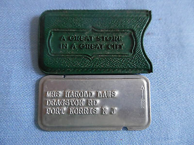 VINTAGE LIT BROTHERS CHARGE A PLATE METAL CREDIT CARD w CASE PHILA PA