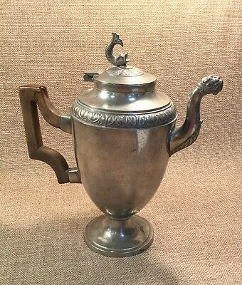 Vintage Pewter Tea Pot With Wooden Handle