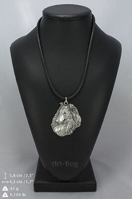 Rough Collie silver covered necklace, high quality keychain Art Dog