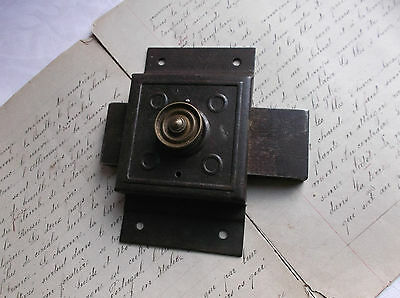 French antique solid iron door latch lock slide bolt authentic charm