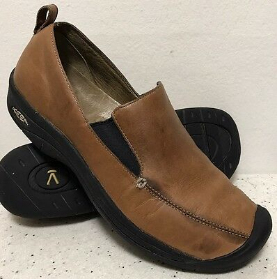 KEEN Brown Leather Slip On Loafers Shoes Women's Size 10.5