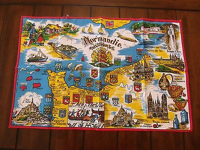 Normandie Historical Tourist British / French Map Pure Cotton Cloth