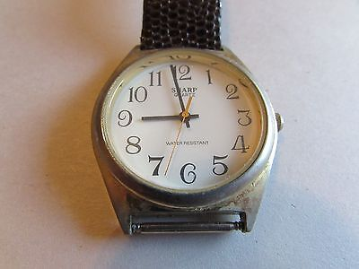 Vintage Men's Sharp Gold Plated Quartz Watch-New Battery-WORKS