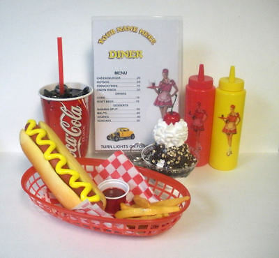 Fake Food Diner Car Hop Hot Dog Meal W/coke, Sundae & Personalized Menu