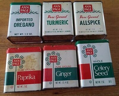 Vintage ANN PAGE spice tin lot - antique collection, 7 tins - various A&P