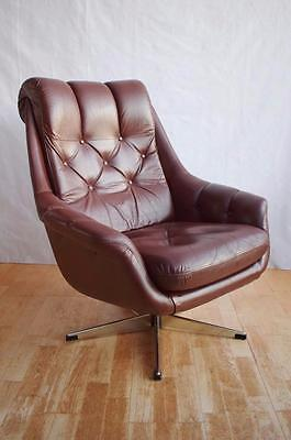 Mid Century Retro Danish Tan Brown Leather Swivel Lounge Arm Chair 1960s 70s