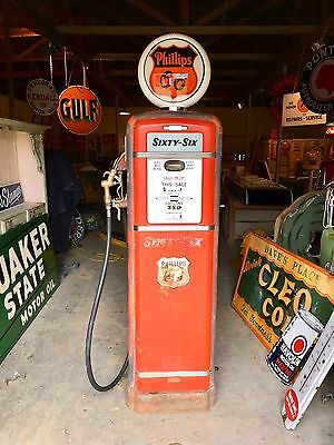 Original 1950's Vintage Phillips 66 Gilbraco Gas Pump Unrestored Nice!