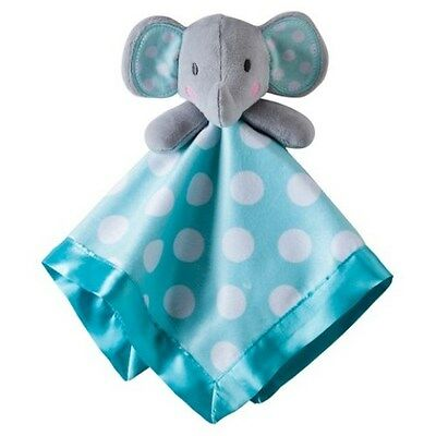 Circo Turquoise Polka Dots Elephant Lovey Baby Security Blanket Satin Back New