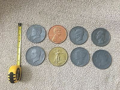 Lot Of 8 Large Metal Novelty Coins