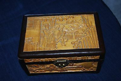 Antique Asian Hand Carved Wood Box