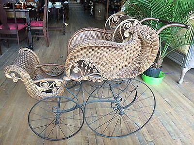 Antique Victorian Ornate Wicker Baby Doll Stroller Carriage Buggy Carrier