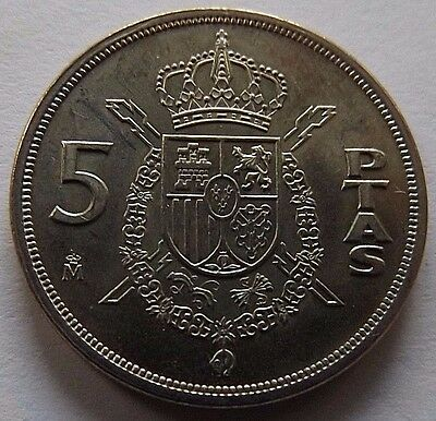 1982 Spain 5 Pesetas! Uncirculated! Great Details!  1St Year Of Issue Type!