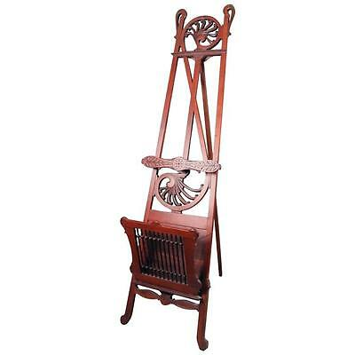 Antique Victorian Eastlake Carved Mahogany Easel with Stylized Treble Cleft