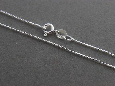 925 Solid Sterling Silver Ball Chain Diamond cut 1mm Necklace ball Bead chains