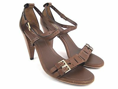 TOD'S Women's Brown Leather Ankle Strappy Heels Sandals Made in Italy Size 40.5