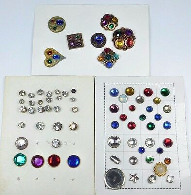 Antique Vintage Button LOT GLASS Set in METAL JEWELS All on CARDS ESTATE