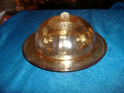 Iridized Carnival Glass Butter Dish Vintage Antique