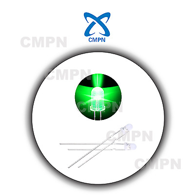 100pcs 3mm Dip Water Clear Round Top Hair Green  Light Lamp LED Diodes