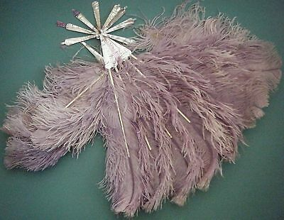 Antique Purple Ostrich Feather ,mother Of Pearl, Bovine Bone Fan Damaged