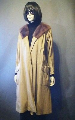 VINTAGE 60s BONNIE CASHIN LEATHER  SWING COAT WITH FUR COLLAR