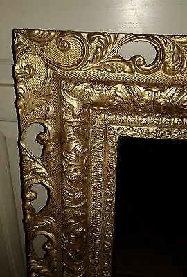 EXQUISITE Vintage French PICTURE FRAME MIRROR Carved wood Barbola Gesso  ORNATE
