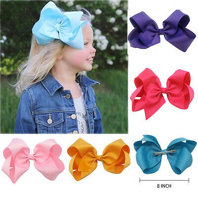 "6"" 8"" Inch Girls Hair Bows Grosgrain Ribbon Knot Large With Clip"