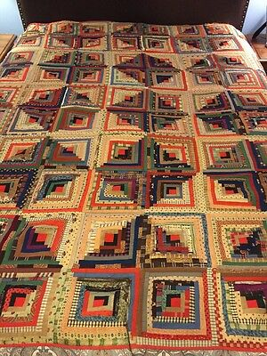 """Antique Hand Stitched Log Cabin Style 19th C. Quilt 80""""x80"""""""