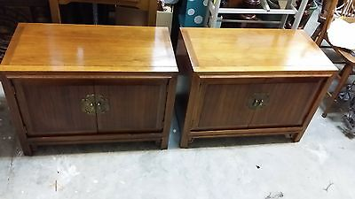 set of 2 walnut   RED LION TABLE CO. MCM chest style nightstands end tables